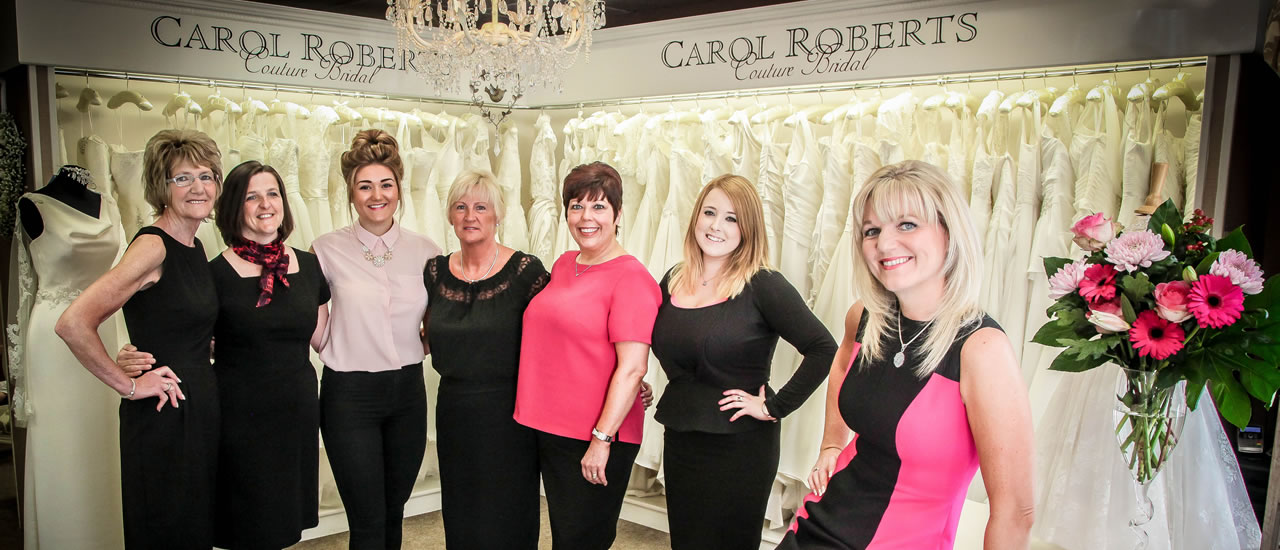 Carol Roberts and her staff at the Wedding Shop in central Carlisle