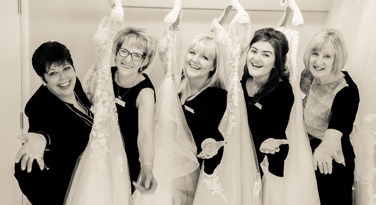 Carol and her staff at the Wedding Shop in central Carlisle