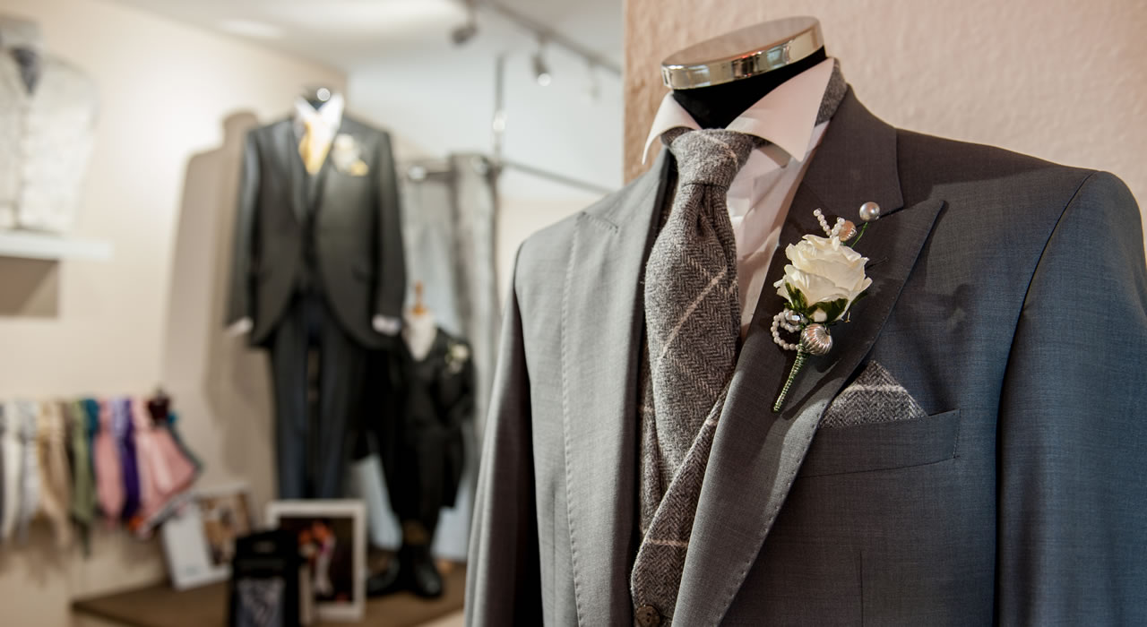Grooms clothing at Wedding Shop in central Carlisle